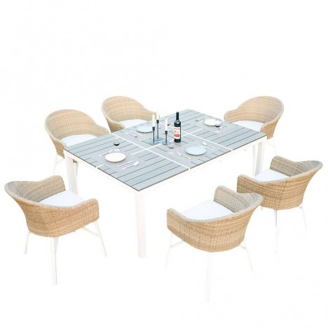 Table de jardin design blanche et 6 chaises rotin decome for Mobilier rotin exterieur