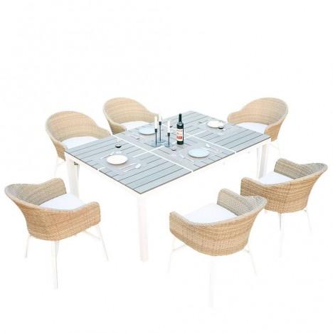 Table de jardin design blanche et 6 chaises rotin - Decome Store