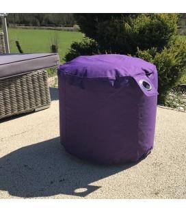 Pouf de jardin violet prune rond avec oeillet -