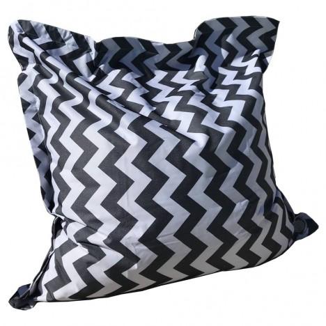 Coussin géant extérieur noir et blanc motifs rayures chevrons -