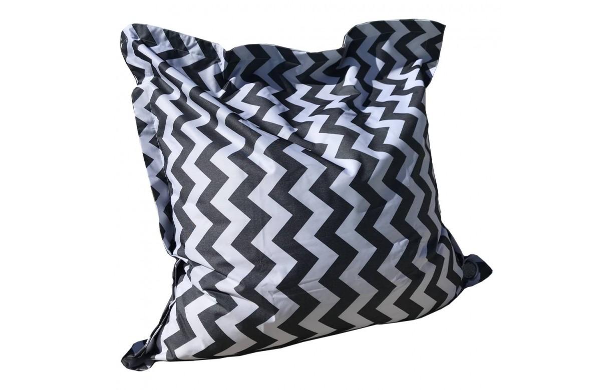 coussin g ant ext rieur noir et blanc motifs rayures chevrons. Black Bedroom Furniture Sets. Home Design Ideas