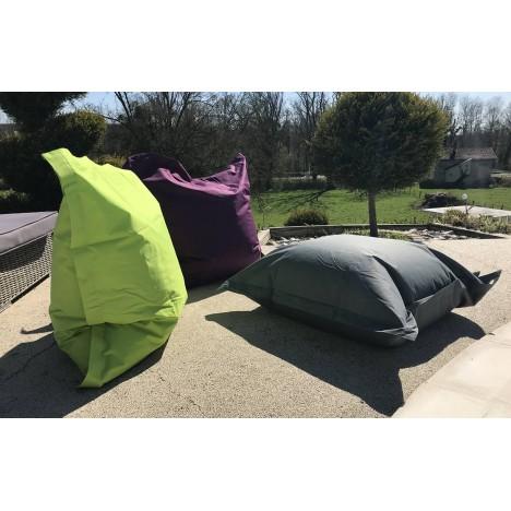 Coussin géant extérieur vert violet ou gris Big Bag -