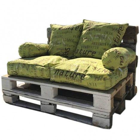 Coussins pour palette vert anis à motifs - Ensemble complet -