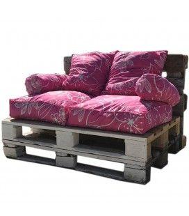 Coussins pour palette rose fushia à motifs - Ensemble complet