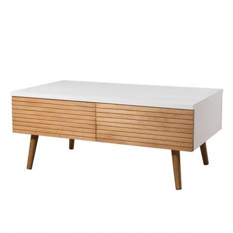 Table basse scandinave blanche et bois 4 tiroirs Helsinki -