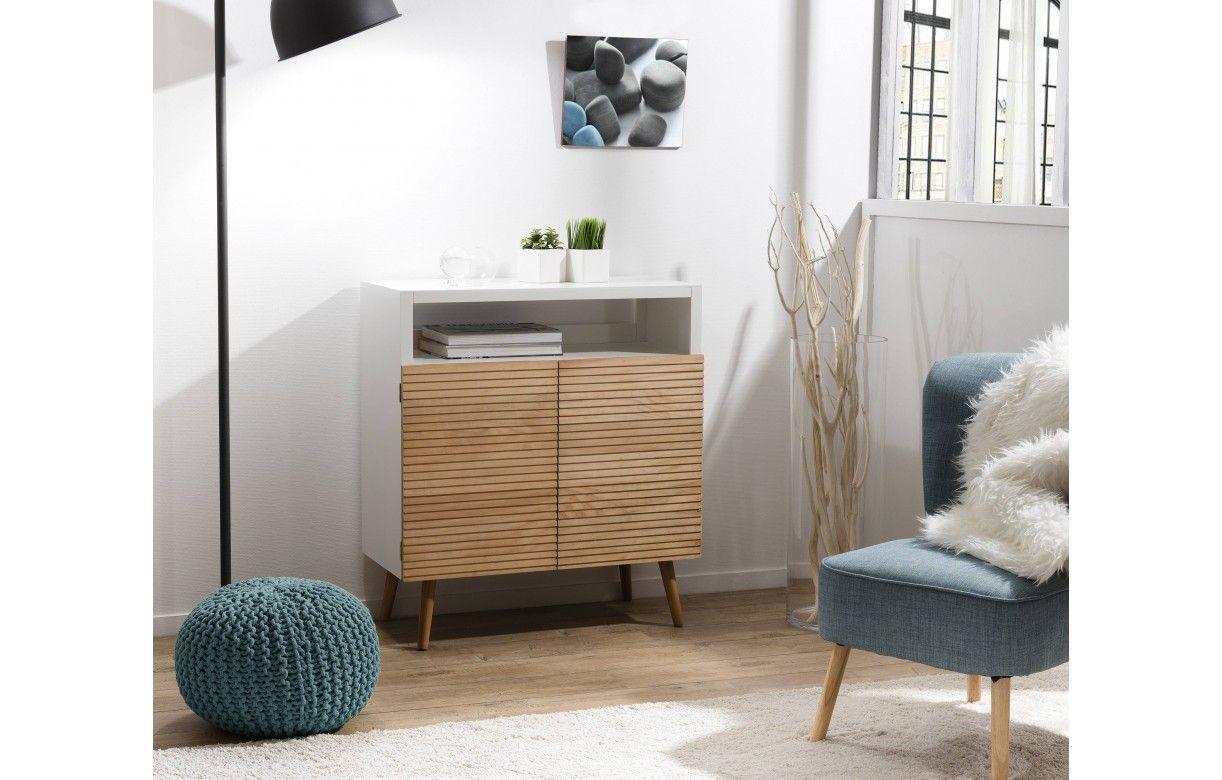 buffet scandinave blanc et bois 2 portes helsinki. Black Bedroom Furniture Sets. Home Design Ideas