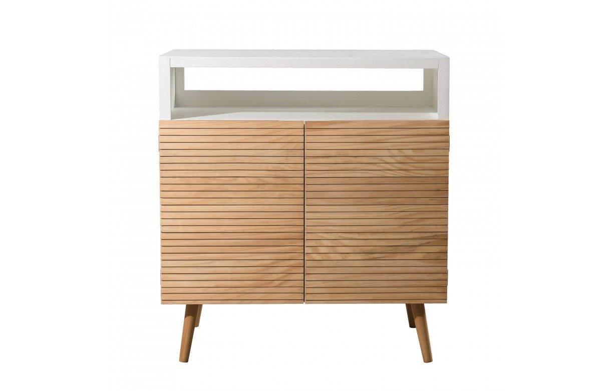 buffet scandinave blanc et bois 2 portes helsinki. Black Bedroom Furniture Sets. Home Design Ideas