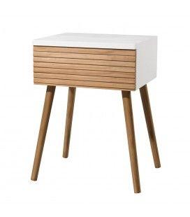 Chevet scandinave avec tiroir blanc et bois clair Helsinki
