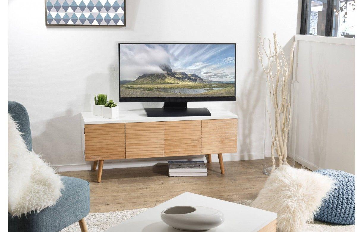 Meuble tv bois clair et blanc avec rangements helsinki - Meuble tv et rangement ...