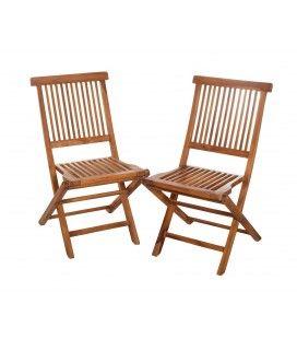 Lot de 2 chaises de jardin en teck pliantes Besuki -