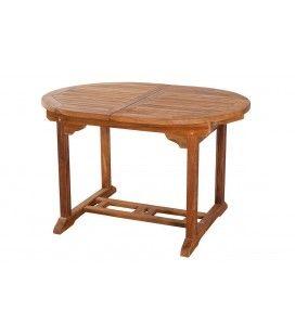 Table de jardin ovale à rallonge intégrée en teck 180cm Besuki -