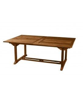 Table de jardin à rallonges intégrées en teck 300 cm Besuki