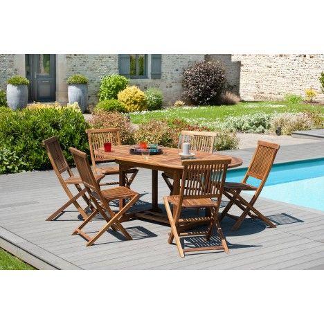 Table de jardin en teck massif et 6 chaises pliantes Besuki