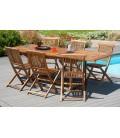 Table d'extérieur en teck et 6 chaises pliantes Besuki -