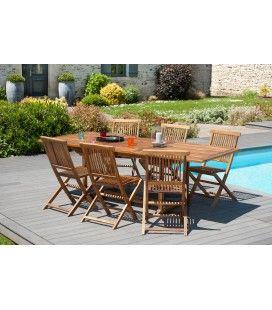 Table de jardin extensible en teck 240cm + 6 chaises Besuki -
