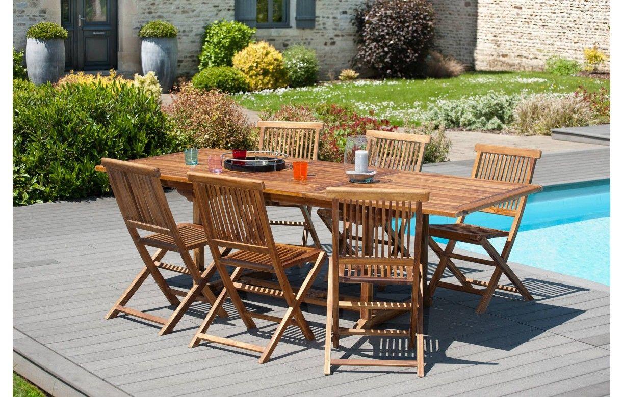 table de jardin extensible en teck 240cm 6 chaises besuki. Black Bedroom Furniture Sets. Home Design Ideas
