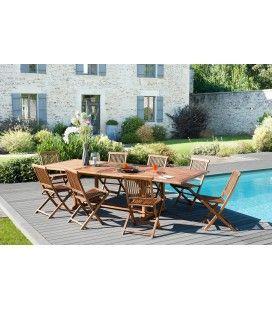 Table de jardin en teck extensible 300cm + 8 chaises Besuki