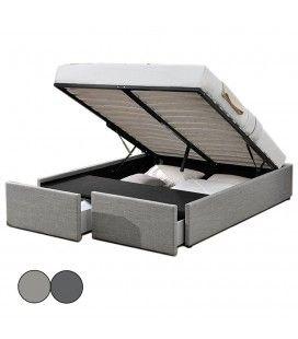 Lit double en tissu gris avec rangement intégré et tiroirs Lagertha