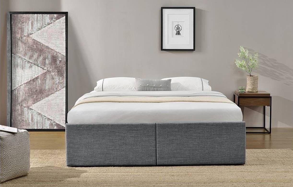 lit coffre double en tissu gris avec tiroirs lagertha. Black Bedroom Furniture Sets. Home Design Ideas
