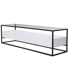 Meuble TV en verre et métal + 3 tiroirs blanc Ravy -