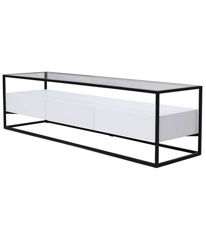 meuble tv en verre et metal 3 tiroirs blanc ravy