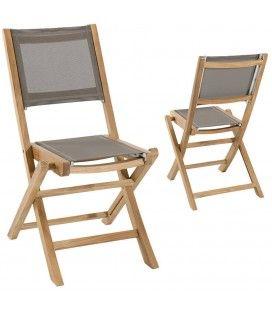 Lot de 2 chaises pliantes en teck et textilène taupe Jakarta