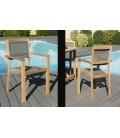 Lot de 2 fauteuils empilables en bois et textilène taupe Jakarta -