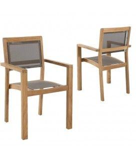 Lot de 2 fauteuils empilables en bois et textilène taupe Jakarta