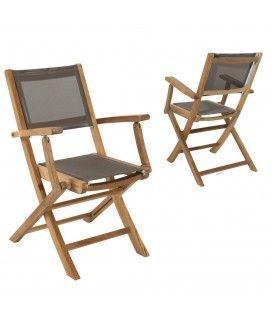 Lot de 2 fauteuils pliants en teck et textilène taupe Jakarta