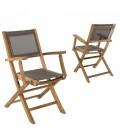 Lot de 2 fauteuils pliants en teck et textilène taupe Jakarta -