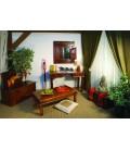 Bureau style rustique en bois foncé 2 tiroirs Addy -