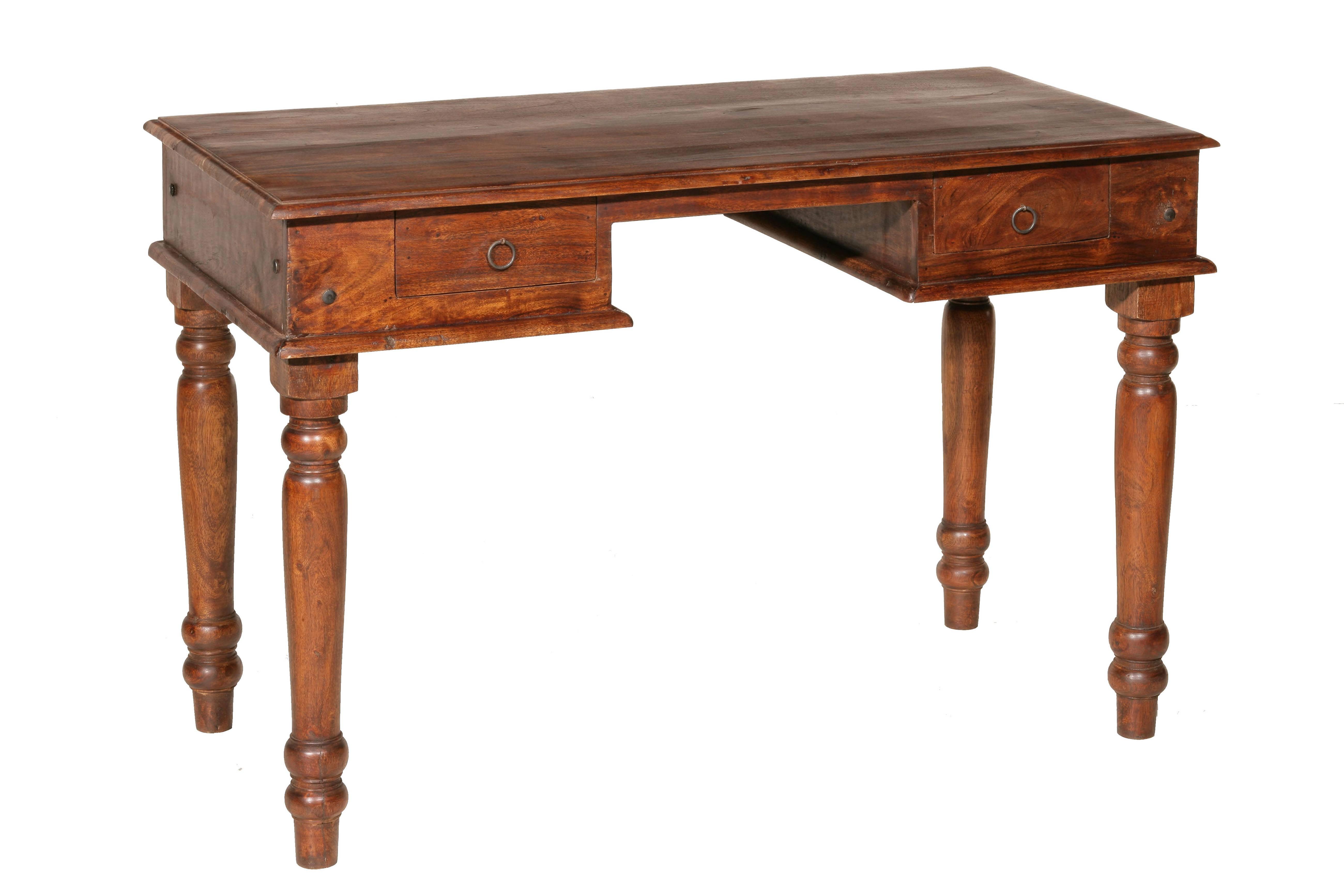 Bureau style rustique en bois foncé 2 tiroirs addy