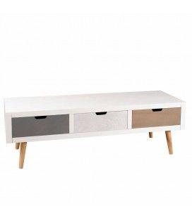 Meuble TV banc 3 tiroirs en bois style nordique Bergen -