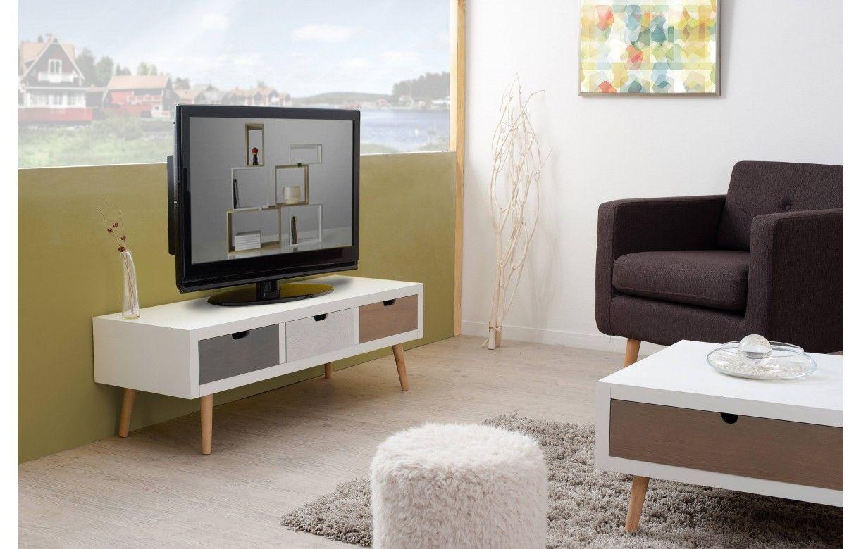 Meuble Tv Banc 3 Tiroirs En Bois Style Nordique Bergen