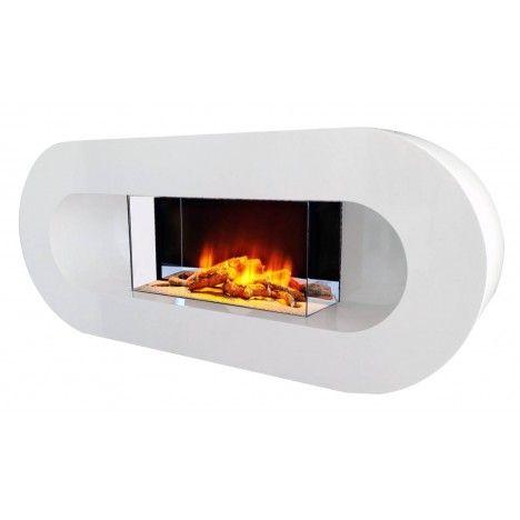 Cheminée électrique murale blanche Ovalia -