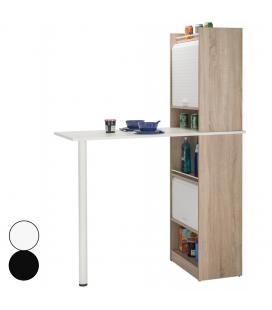 Grand rangement de cuisine bois clair avec table intégrée et rideau