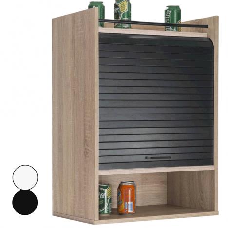 Meuble de cuisine bois clair avec rideaux déroulant -