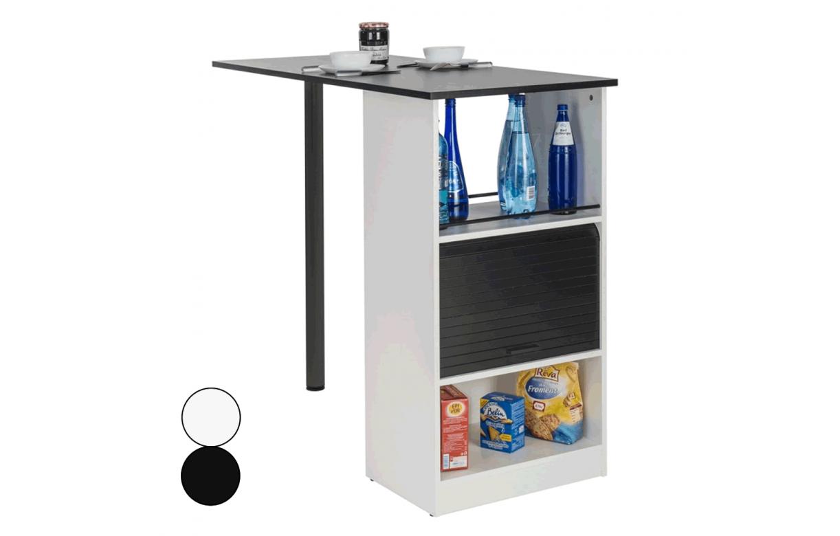 meuble cuisine rideau avec table intgre noire ou blanche lucky