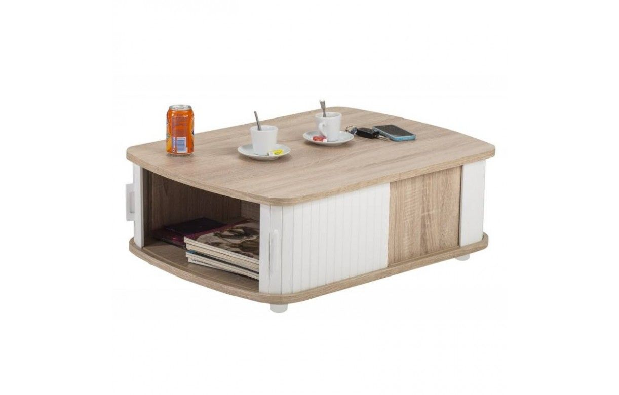 table basse bois clair avec double rideau 3 coloris lucky. Black Bedroom Furniture Sets. Home Design Ideas