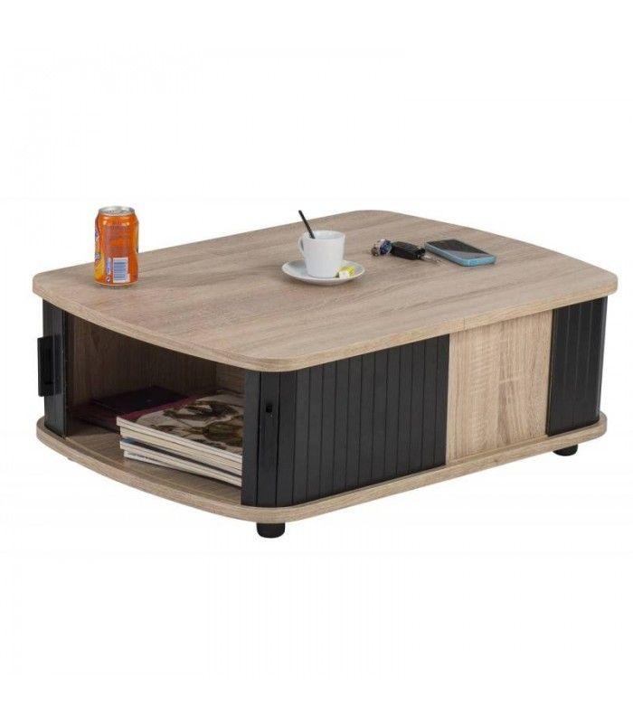Table Basse Bois Clair Avec Double Rideau 3 Coloris