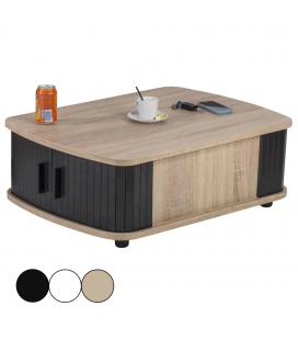 Table basse bois clair avec double rideau - 3 coloris