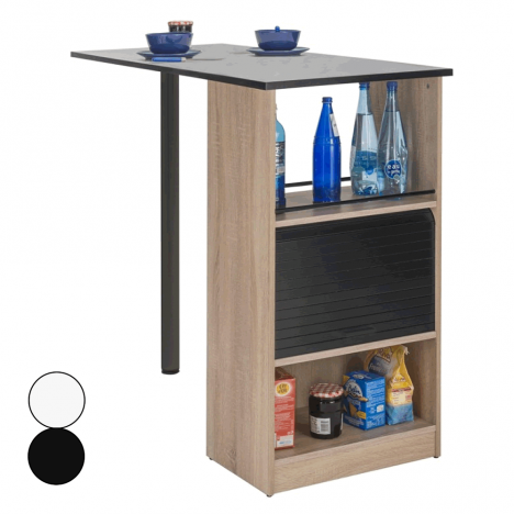 Rangement de cuisine bois clair avec table intégrée Lucky -
