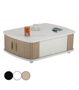 Table basse blanche avec double rideau - 3 coloris -