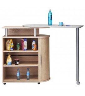 Rangement de cuisine bois clair avec table pivotante Lucky
