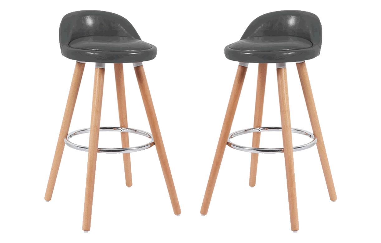 tabouret de bar avec 4 pieds bois massif lot de 2. Black Bedroom Furniture Sets. Home Design Ideas