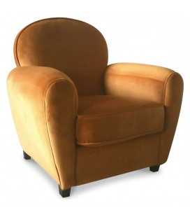 Fauteuil Club orange en velours Tom