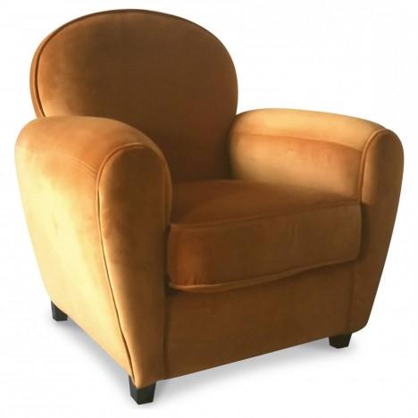 Fauteuil Club orange en velours Tom -