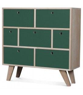 Commode style scandinave verte en bois 7 tiroirs Boreal -