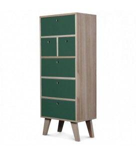 Meuble scandinave vert colonne de rangement en bois 6 tiroirs Boreal -