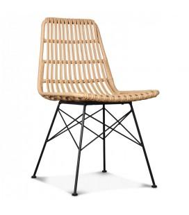 Chaise style rotin et pieds métal noir Caty
